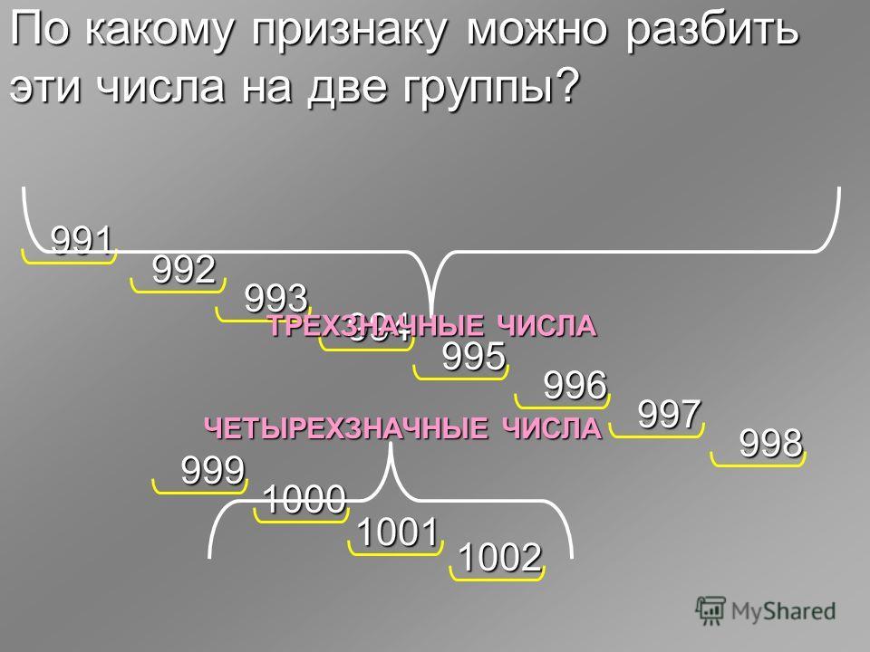 По какому признаку можно разбить эти числа на две группы? 991 992 993 994 995 996 997 998 1001 1002 999 1000 ТРЕХЗНАЧНЫЕ ЧИСЛА ЧЕТЫРЕХЗНАЧНЫЕ ЧИСЛА