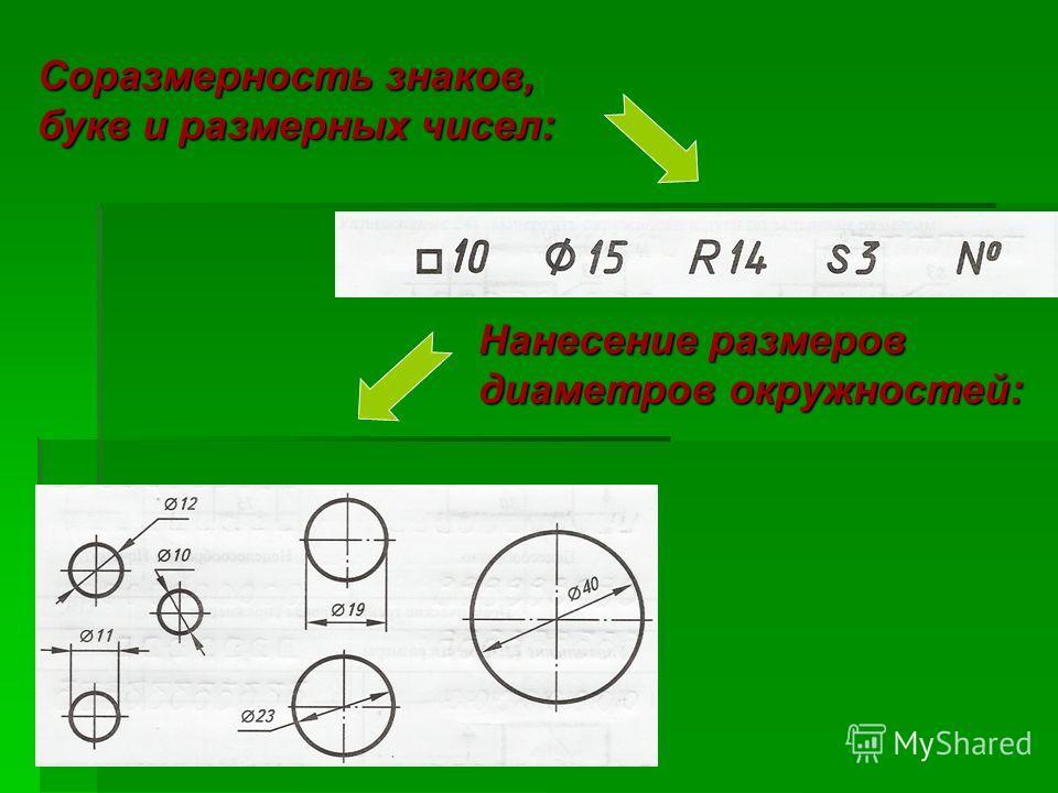 Нанесение размеров диаметров окружностей: Соразмерность знаков, букв и размерных чисел: