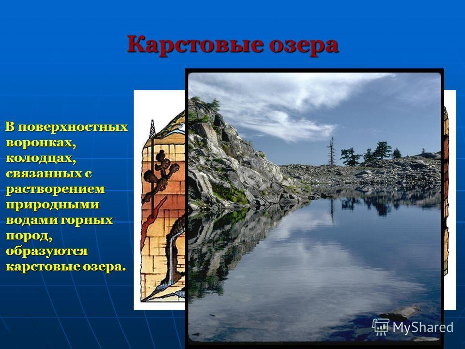 Карстовые озера В поверхностных воронках, колодцах, связанных с растворением природными водами горных пород, образуются карстовые озера. В поверхностных воронках, колодцах, связанных с растворением природными водами горных пород, образуются карстовые