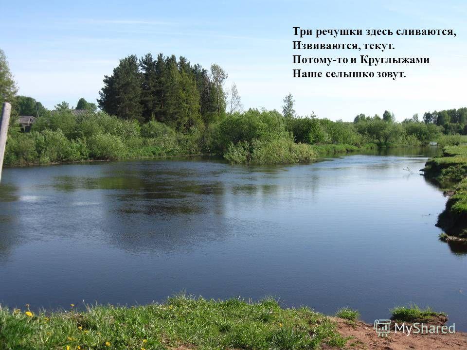 Три речушки здесь сливаются, Извиваются, текут. Потому-то и Круглыжами Наше селышко зовут.