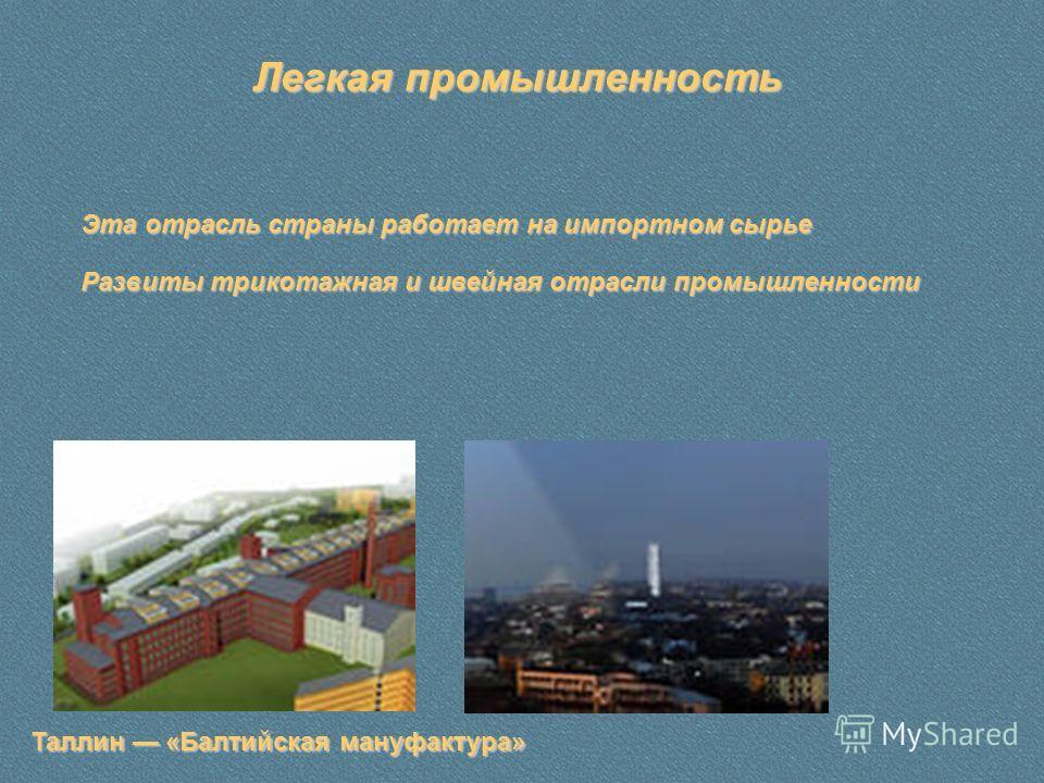 Легкая промышленность Таллин «Балтийская мануфактура» Эта отрасль страны работает на импортном сырье Развиты трикотажная и швейная отрасли промышленности