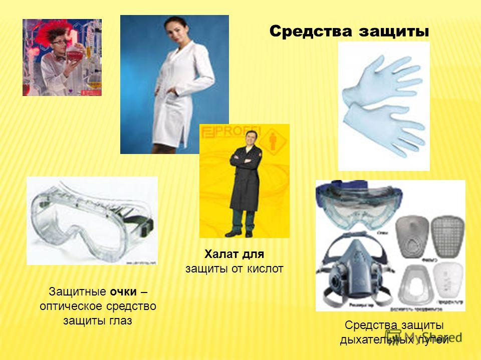 Защитные очки – оптическое средство защиты глаз Средства защиты дыхательных путей Халат для защиты от кислот