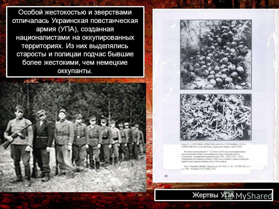 Особой жестокостью и зверствами отличалась Украинская повстанческая армия (УПА), созданная националистами на оккупированных территориях. Из них выделялись старосты и полицаи подчас бывшие более жестокими, чем немецкие оккупанты. Жертвы УПА