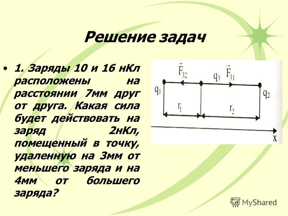 Решение задач 1. Заряды 10 и 16 нКл расположены на расстоянии 7мм друг от друга. Какая сила будет действовать на заряд 2нКл, помещенный в точку, удаленную на 3мм от меньшего заряда и на 4мм от большего заряда?