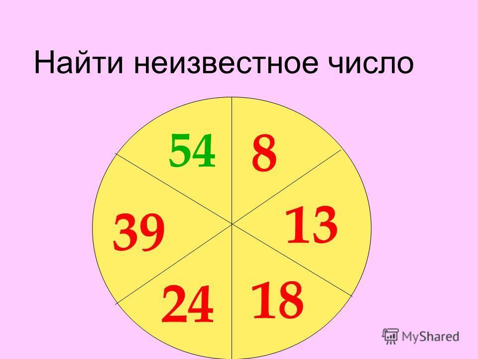 Найти неизвестное число 8 13 18 24 39 ? 54