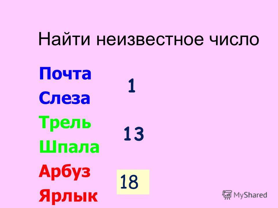 Найти неизвестное число Почта Слеза Трель Шпала Арбуз Ярлык 1 13 ?18