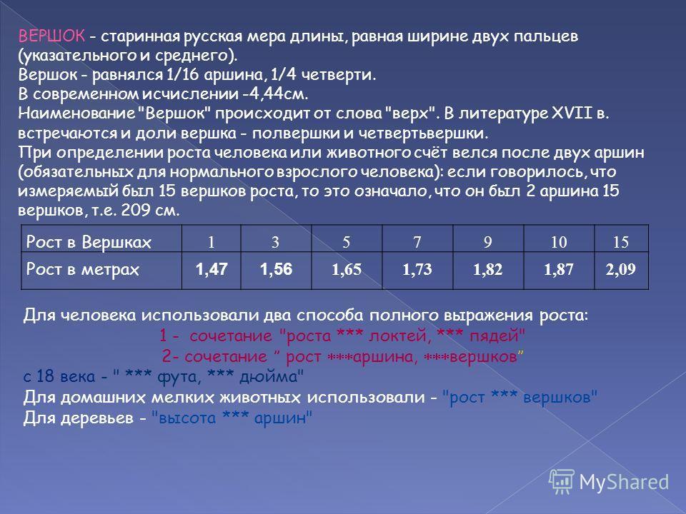 ВЕРШОК - старинная русская мера длины, равная ширине двух пальцев (указательного и среднего). Вершок - равнялся 1/16 аршина, 1/4 четверти. В современном исчислении -4,44см. Наименование