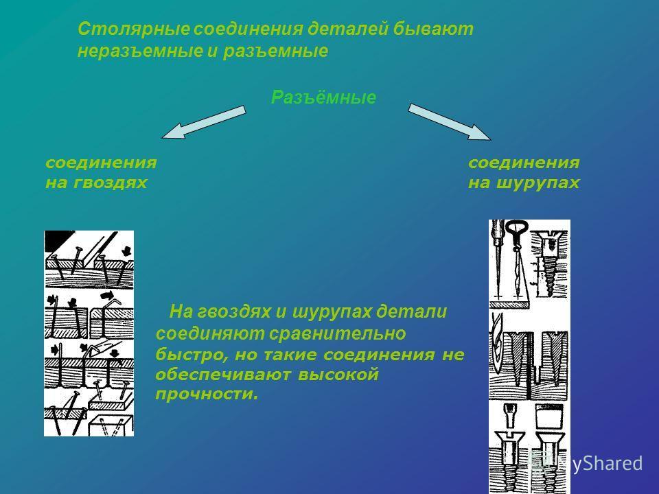Столярные соединения деталей бывают неразъемные и разъемные На гвоздях и шурупах детали соединяют сравнительно быстро, но такие соединения не обеспечивают высокой прочности. соединения на гвоздях соединения на шурупах Разъёмные