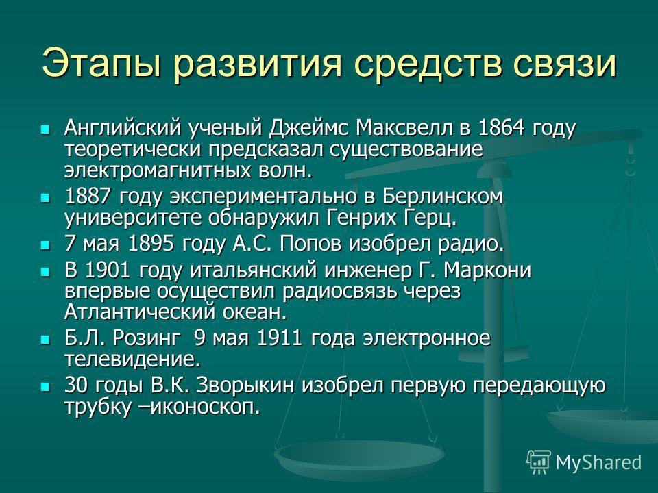 Этапы развития средств связи Английский ученый Джеймс Максвелл в 1864 году теоретически предсказал существование электромагнитных волн. Английский ученый Джеймс Максвелл в 1864 году теоретически предсказал существование электромагнитных волн. 1887 го