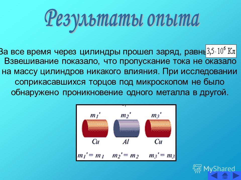 За все время через цилиндры прошел заряд, равный Взвешивание показало, что пропускание тока не оказало на массу цилиндров никакого влияния. При исследовании соприкасавшихся торцов под микроскопом не было обнаружено проникновение одного металла в друг