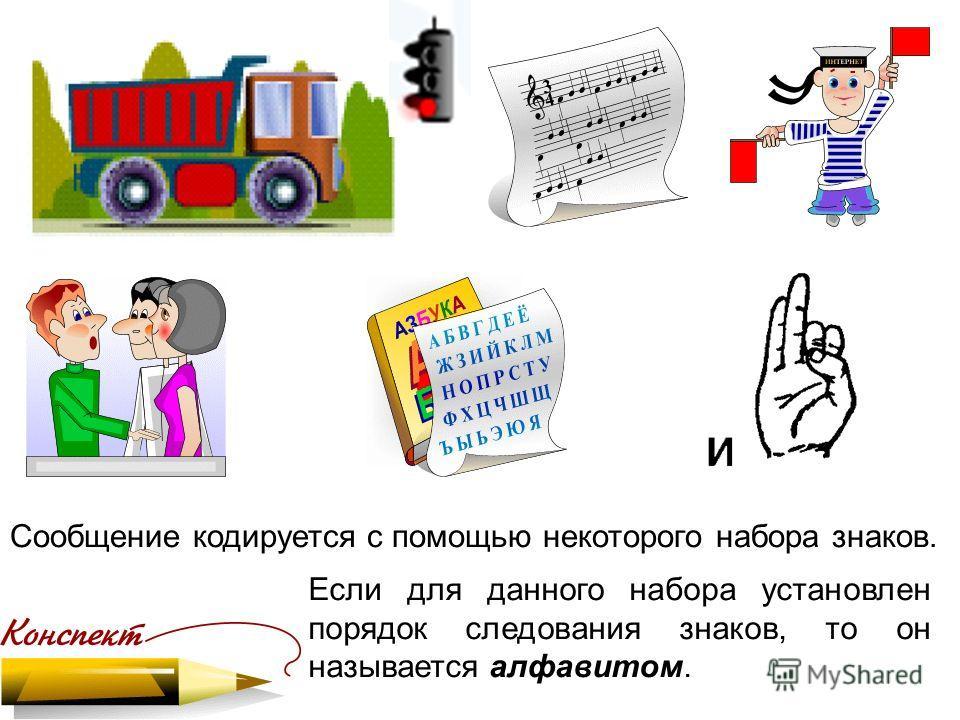 Сообщение кодируется с помощью некоторого набора знаков. Если для данного набора установлен порядок следования знаков, то он называется алфавитом.