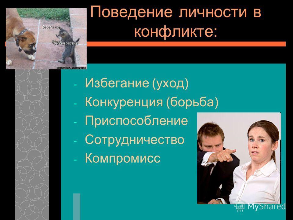 Поведение личности в конфликте: - Избегание (уход) - Конкуренция (борьба) - Приспособление - Сотрудничество - Компромисс