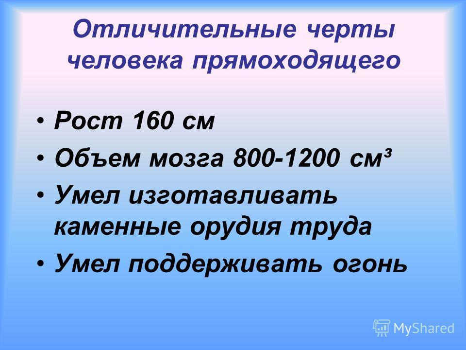 Отличительные черты человека прямоходящего Рост 160 см Объем мозга 800-1200 см³ Умел изготавливать каменные орудия труда Умел поддерживать огонь