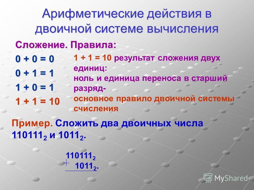Арифметические действия в двоичной системе вычисления Сложение. Правила: 0 + 0 = 0 0 + 1 = 1 1 + 0 = 1 1 + 1 = 10 Пример. Сложить два двоичных числа 110111 2 и 1011 2. 1 + 1 = 10 результат сложения двух единиц: ноль и единица переноса в старший разря