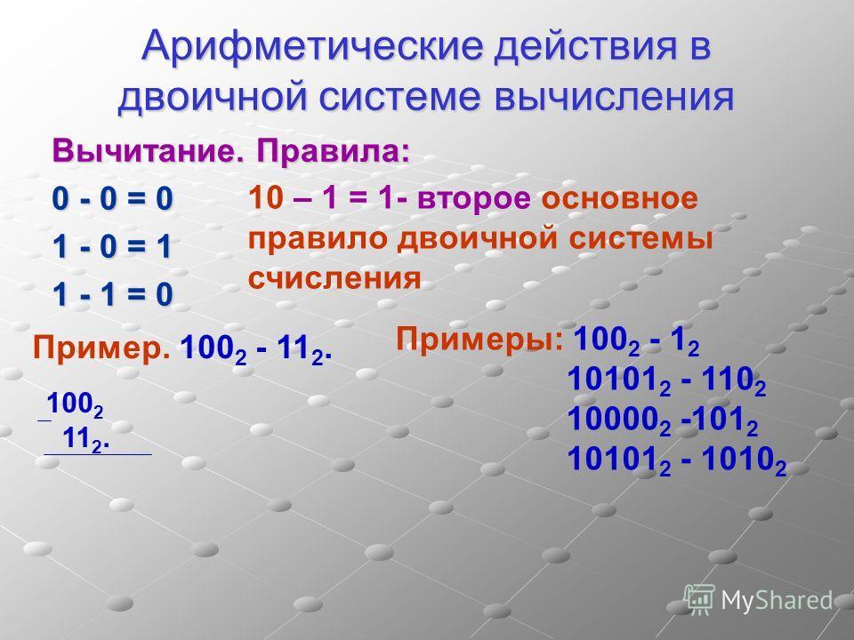 Арифметические действия в двоичной системе вычисления Вычитание. Правила: 0 - 0 = 0 1 - 0 = 1 1 - 1 = 0 Пример. 100 2 - 11 2. 10 – 1 = 1- второе основное правило двоичной системы счисления 100 2 11 2. Примеры: 100 2 - 1 2 10101 2 - 110 2 10000 2 -101