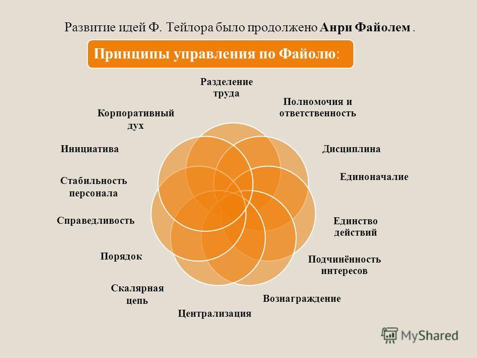 Разделение труда Полномочия и ответственность Дисциплина Единоначалие Единство действий Подчинённость интересов Вознаграждение Централизация Скалярная цепь Порядок Справедливость Стабильность персонала Инициатива Корпоративный дух Развитие идей Ф. Те