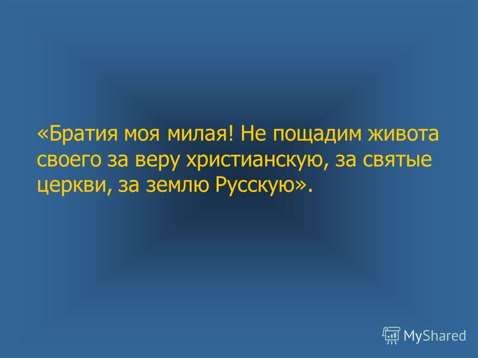 «Братия моя милая! Не пощадим живота своего за веру христианскую, за святые церкви, за землю Русскую».