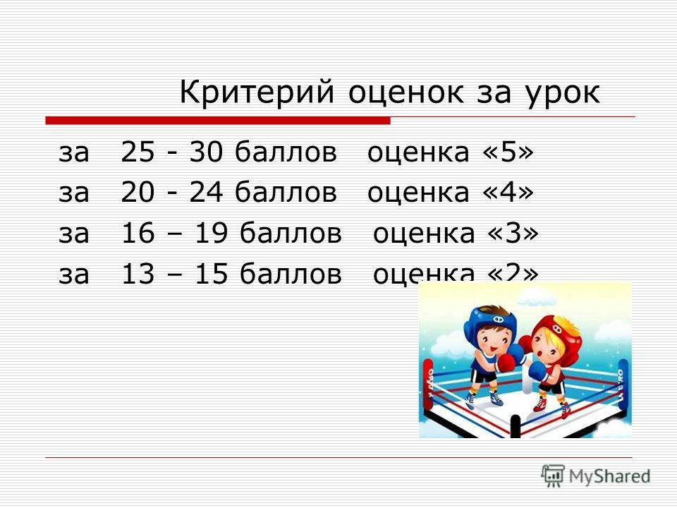 Критерий оценок за урок за 25 - 30 баллов оценка «5» за 20 - 24 баллов оценка «4» за 16 – 19 баллов оценка «3» за 13 – 15 баллов оценка «2»