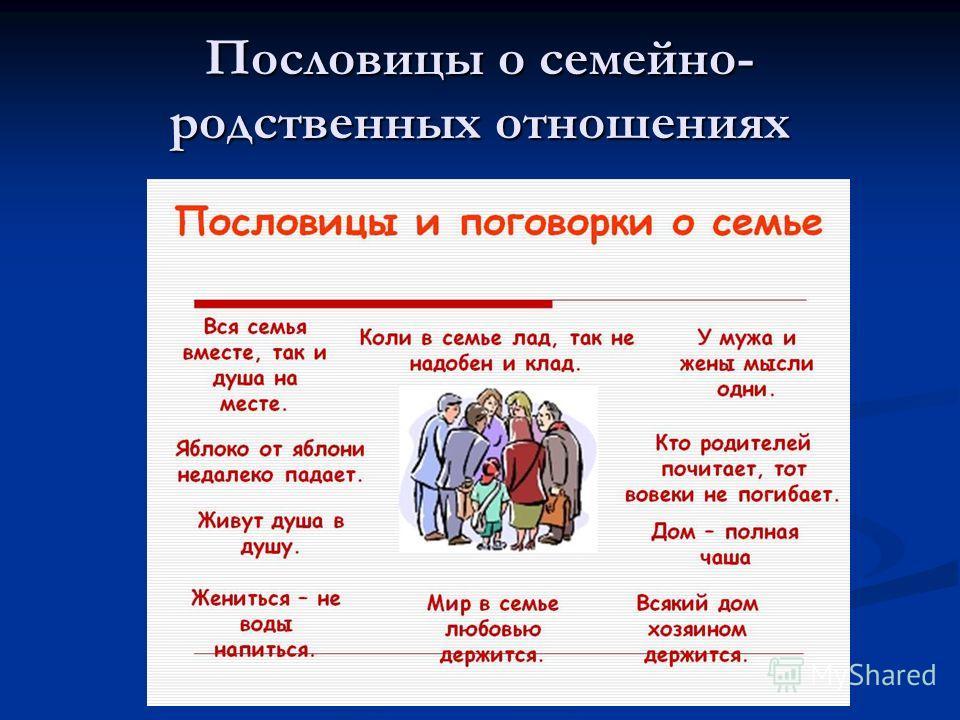 Пословицы о семейно- родственных отношениях