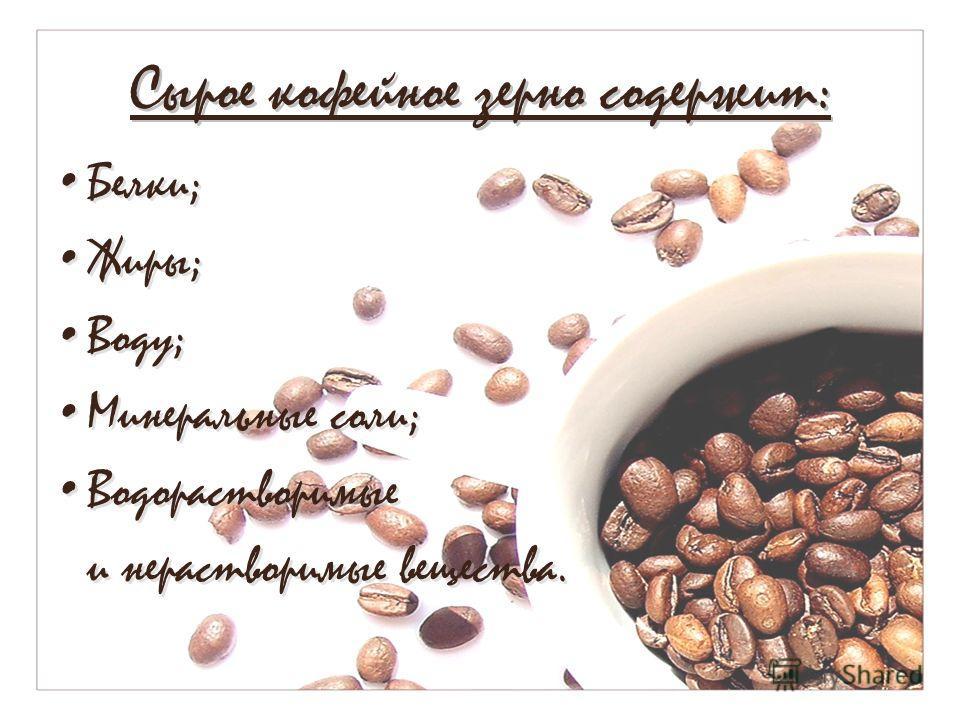 Сырое кофейное зерно содержит: Белки; Жиры; Воду; Минеральные соли; Водорастворимые и нерастворимые вещества. Белки; Жиры; Воду; Минеральные соли; Водорастворимые и нерастворимые вещества.