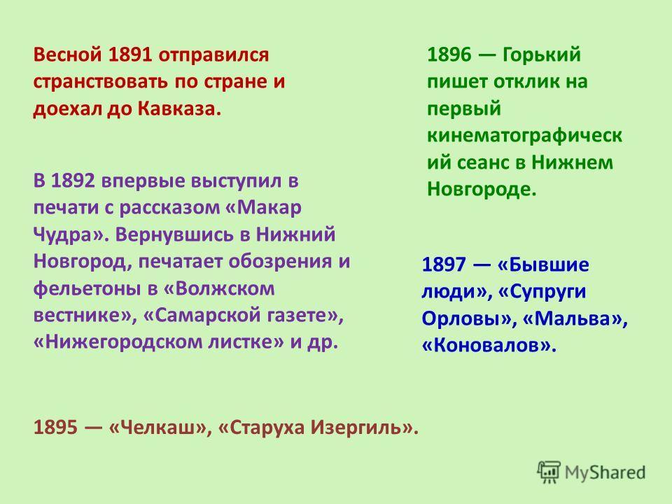 Весной 1891 отправился странствовать по стране и доехал до Кавказа. 1896 Горький пишет отклик на первый кинематографическ ий сеанс в Нижнем Новгороде. 1897 «Бывшие люди», «Супруги Орловы», «Мальва», «Коновалов». В 1892 впервые выступил в печати с рас