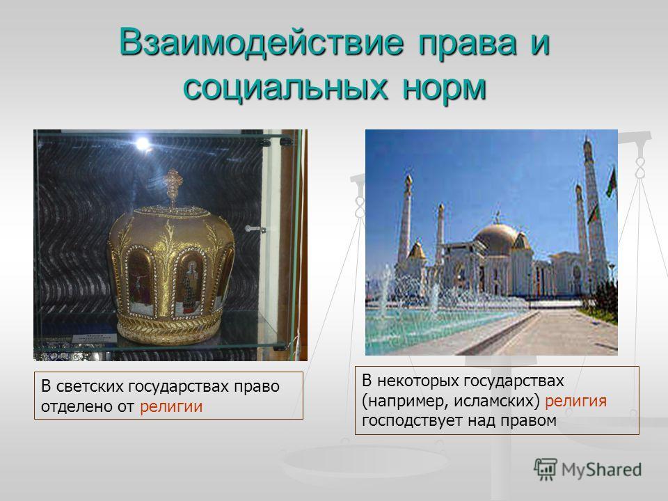 Взаимодействие права и социальных норм В некоторых государствах (например, исламских) религия господствует над правом В светских государствах право отделено от религии