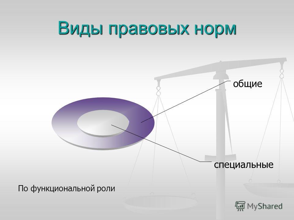 Виды правовых норм специальные общие По функциональной роли
