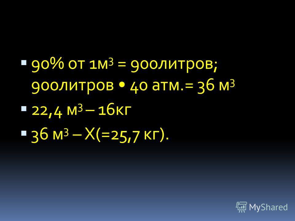 90% от 1м 3 = 900литров; 900литров 40 атм.= 36 м 3 22,4 м 3 – 16кг 36 м 3 – Х(=25,7 кг).