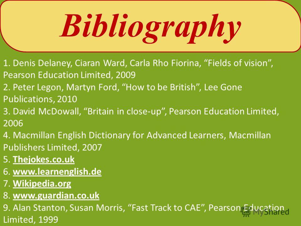 1. Denis Delaney, Ciaran Ward, Carla Rho Fiorina, Fields of vision, Pearson Education Limited, 2009 2. Peter Legon, Martyn Ford, How to be British, Lee Gone Publications, 2010 3. David McDowall, Britain in close-up, Pearson Education Limited, 2006 4.