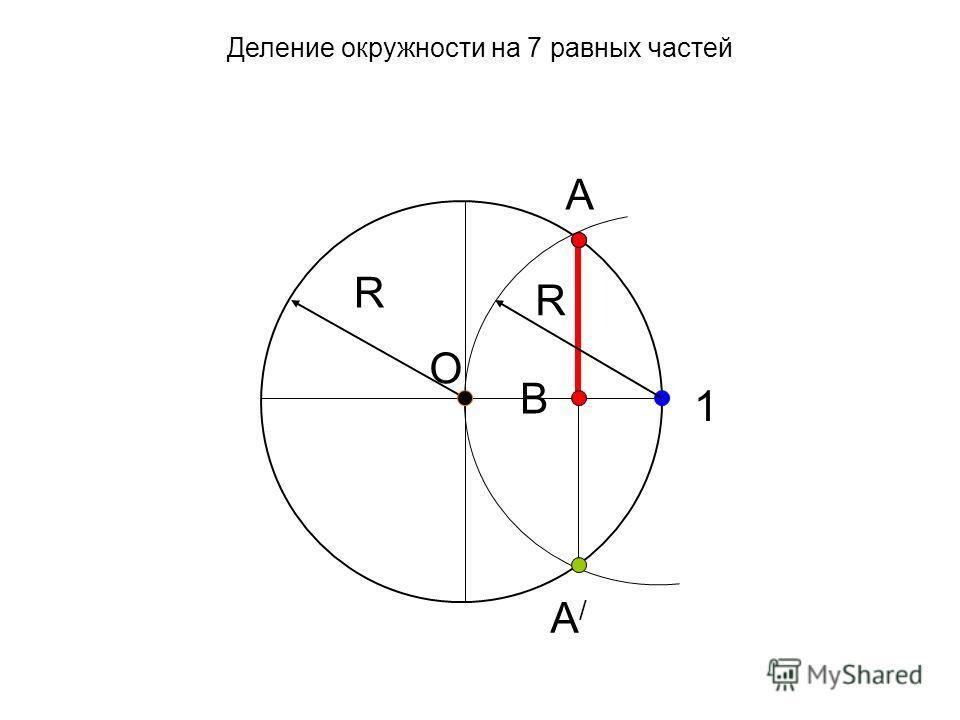 O R А А/А/ В R 1 Деление окружности на 7 равных частей