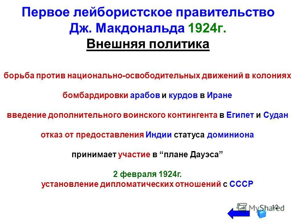 12 Первое лейбористское правительство Дж. Макдональда 1924г. Внешняя политика борьба против национально-освободительных движений в колониях бомбардировки арабов и курдов в Иране введение дополнительного воинского контингента в Египет и Судан отказ от