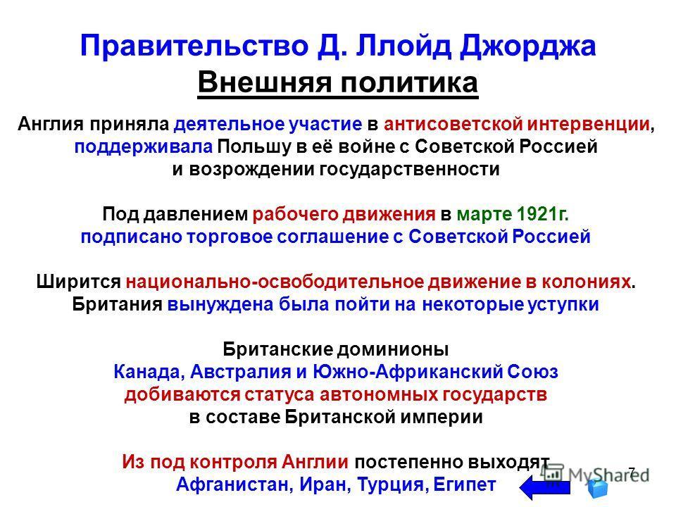 7 Англия приняла деятельное участие в антисоветской интервенции, поддерживала Польшу в её войне с Советской Россией и возрождении государственности Под давлением рабочего движения в марте 1921г. подписано торговое соглашение с Советской Россией Ширит