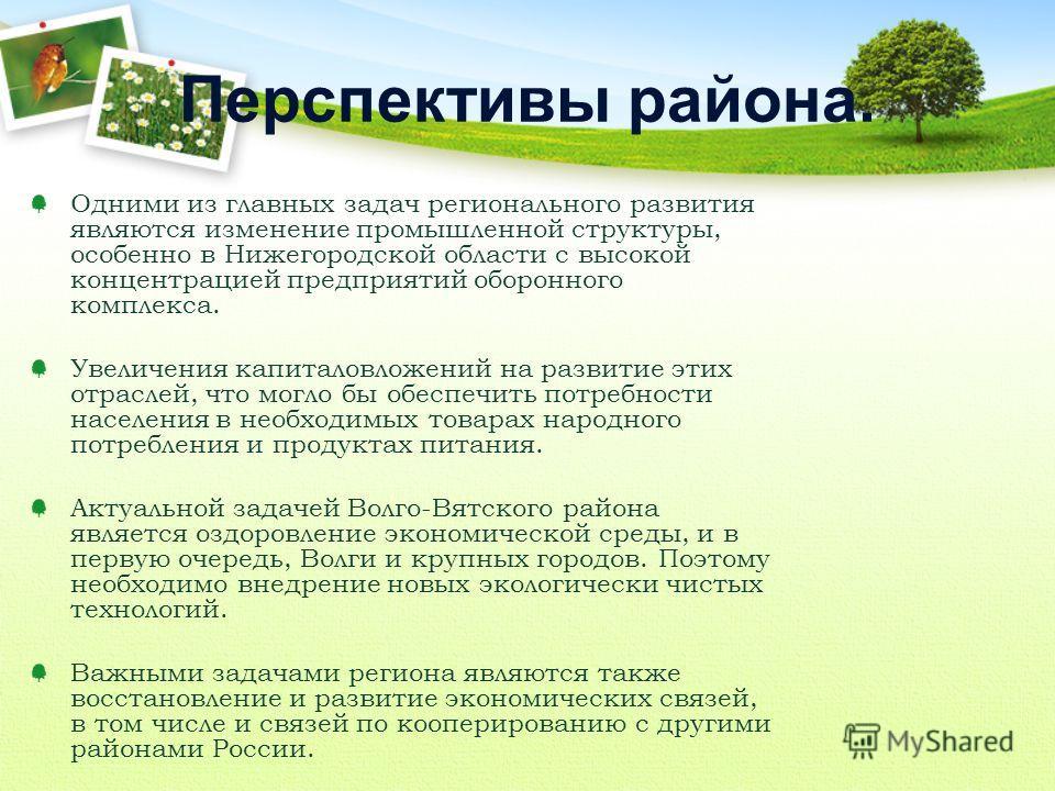 Одними из главных задач регионального развития являются изменение промышленной структуры, особенно в Нижегородской области с высокой концентрацией предприятий оборонного комплекса. Увеличения капиталовложений на развитие этих отраслей, что могло бы о