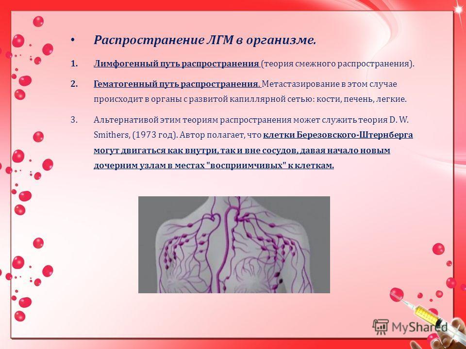 Распространение ЛГМ в организме. 1.Лимфогенный путь распространения (теория смежного распространения). 2.Гематогенный путь распространения. Метастазирование в этом случае происходит в органы с развитой капиллярной сетью: кости, печень, легкие. 3.Альт