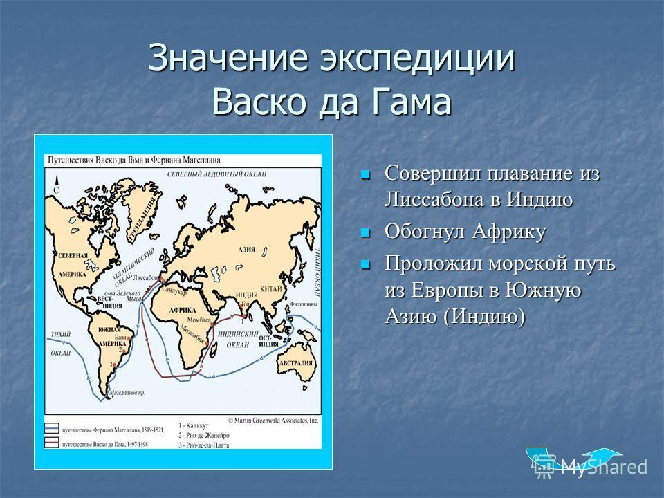 Значение экспедиции Васко да Гама Совершил плавание из Лиссабона в Индию Совершил плавание из Лиссабона в Индию Обогнул Африку Обогнул Африку Проложил морской путь из Европы в Южную Азию (Индию) Проложил морской путь из Европы в Южную Азию (Индию)