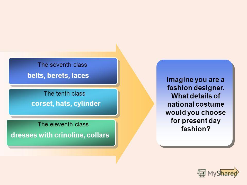 Imagine you are a fashion designer. What details of national costume would you choose for present day fashion? The seventh class The tenth class The eleventh class belts, berets, laces corset, hats, cylinder dresses with crinoline, collars
