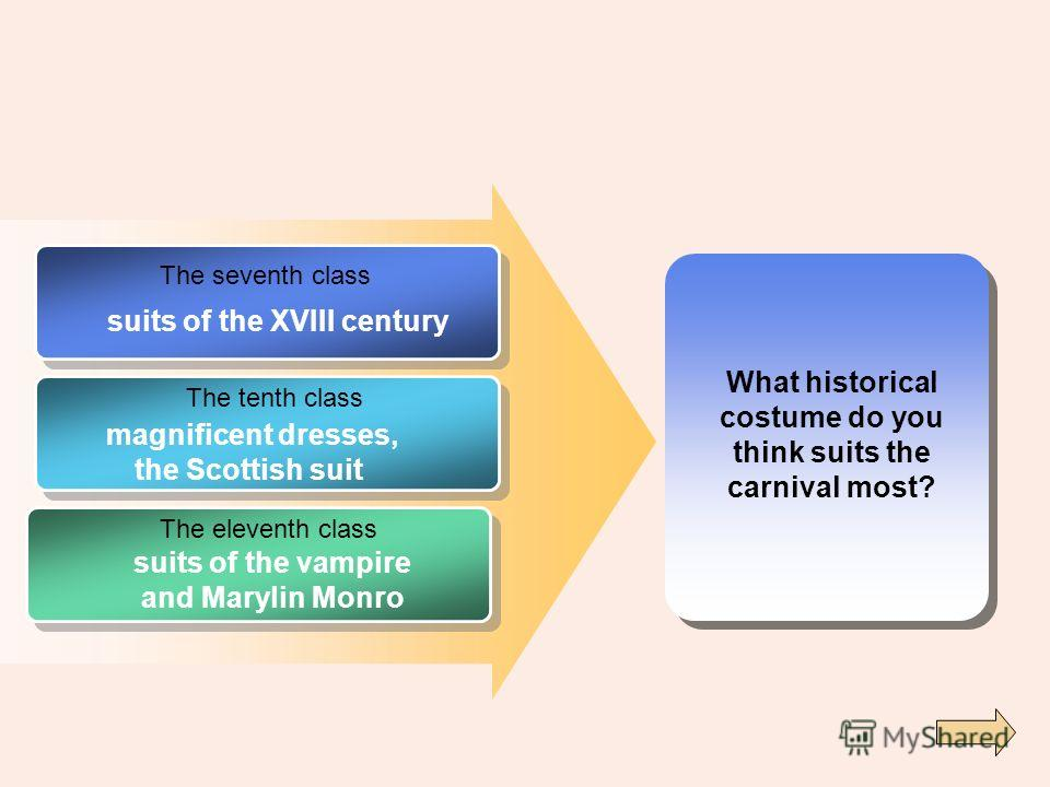 What historical costume do you think suits the carnival most? The seventh class The tenth class The eleventh class suits of the XVIII century magnificent dresses, the Scottish suit suits of the vampire and Marylin Monro
