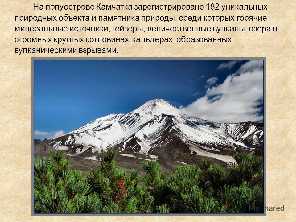 На полуострове Камчатка зарегистрировано 182 уникальных природных объекта и памятника природы, среди которых горячие минеральные источники, гейзеры, величественные вулканы, озера в огромных круглых котловинах-кальдерах, образованных вулканическими вз