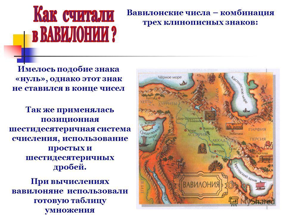 Вавилонские числа – комбинация трех клинописных знаков: Так же применялась позиционная шестидесятеричная система счисления, использование простых и шестидесятеричных дробей. При вычислениях вавилоняне использовали готовую таблицу умножения Имелось по