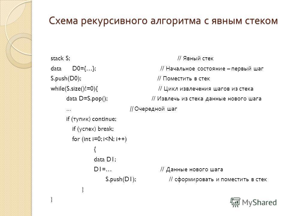 Схема рекурсивного алгоритма с явным стеком stack S; // Явный стек data D0={…}; // Начальное состояние – первый шаг S.push(D0); // Поместить в стек while(S.size()!=0){ // Цикл извлечения шагов из стека data D=S.pop(); // Извлечь из стека данные новог