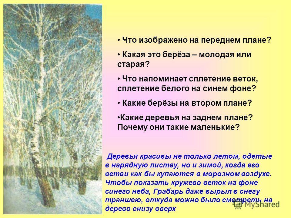 Что изображено на переднем плане? Какая это берёза – молодая или старая? Что напоминает сплетение веток, сплетение белого на синем фоне? Какие берёзы на втором плане? Какие деревья на заднем плане? Почему они такие маленькие? Деревья красивы не тольк