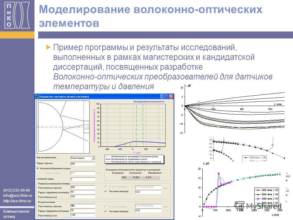 (812) 232-09-95 info@aco.ifmo.ru http://aco.ifmo.ru Компьютерная оптика Моделирование волоконно-оптических элементов Пример программы и результаты исследований, выполненных в рамках магистерских и кандидатской диссертаций, посвященных разработке Воло