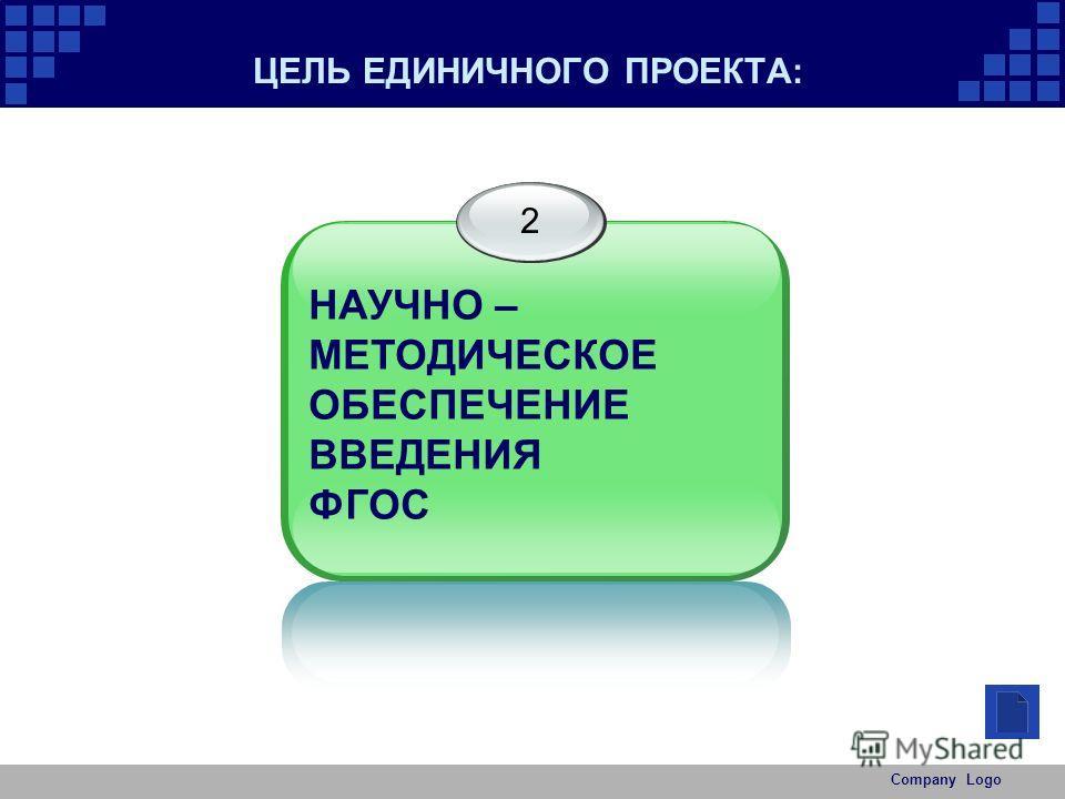 Company Logo ЦЕЛЬ ЕДИНИЧНОГО ПРОЕКТА: 2 НАУЧНО – МЕТОДИЧЕСКОЕ ОБЕСПЕЧЕНИЕ ВВЕДЕНИЯ ФГОС