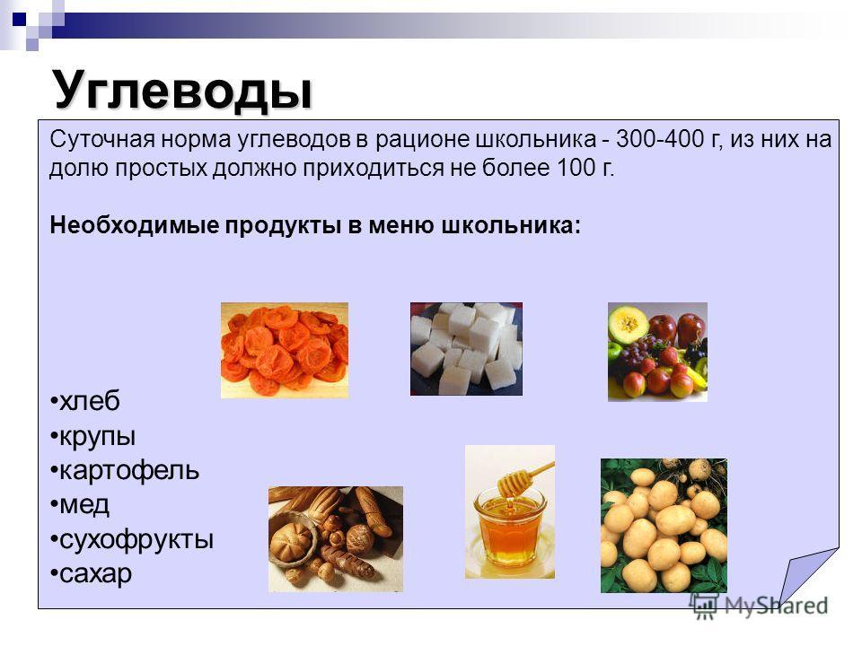 Углеводы Суточная норма углеводов в рационе школьника - 300-400 г, из них на долю простых должно приходиться не более 100 г. Необходимые продукты в меню школьника: хлеб крупы картофель мед сухофрукты сахар