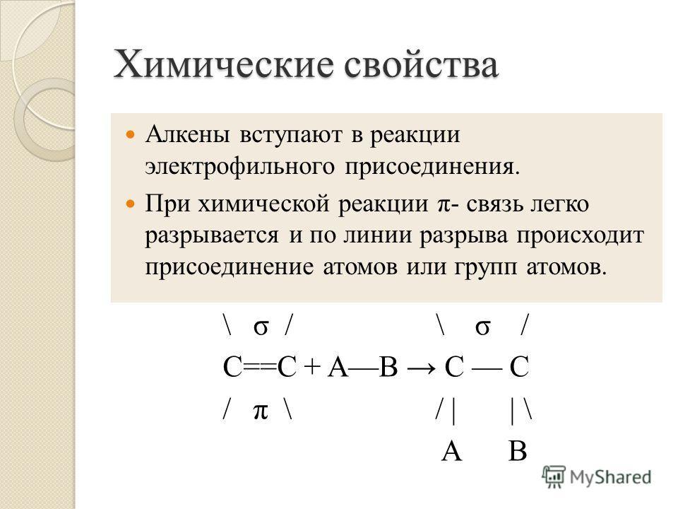 Химические свойства \ σ / \ σ / C==C + AB C C / π \ / | | \ А В Алкены вступают в реакции электрофильного присоединения. При химической реакции π- связь легко разрывается и по линии разрыва происходит присоединение атомов или групп атомов.