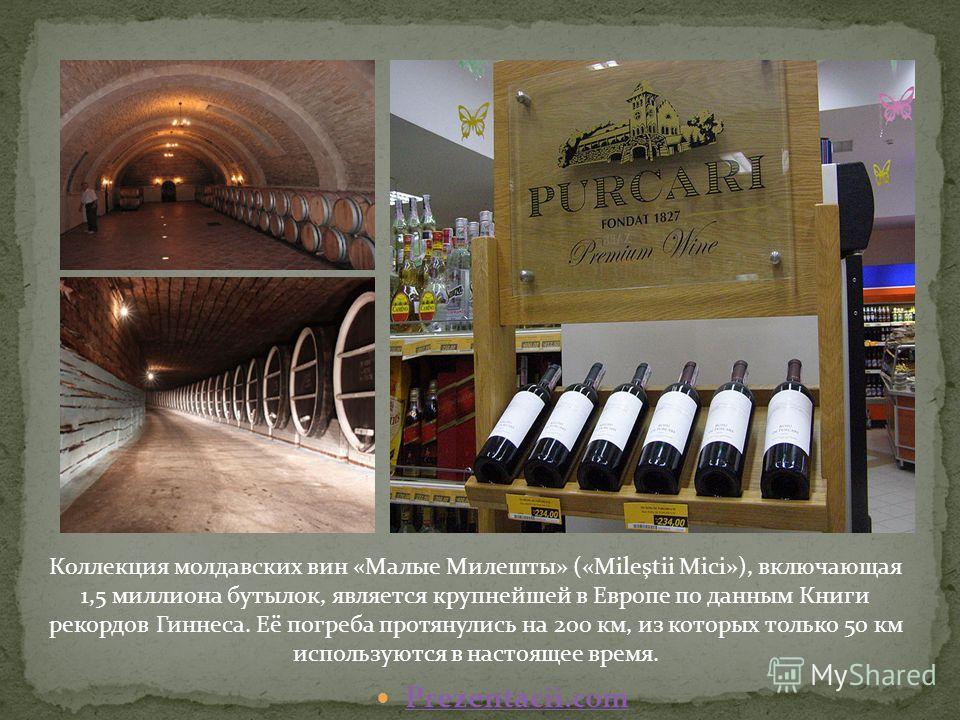 Коллекция молдавских вин «Малые Милешты» («Mileştii Mici»), включающая 1,5 миллиона бутылок, является крупнейшей в Европе по данным Книги рекордов Гиннеса. Её погреба протянулись на 200 км, из которых только 50 км используются в настоящее время. Prez