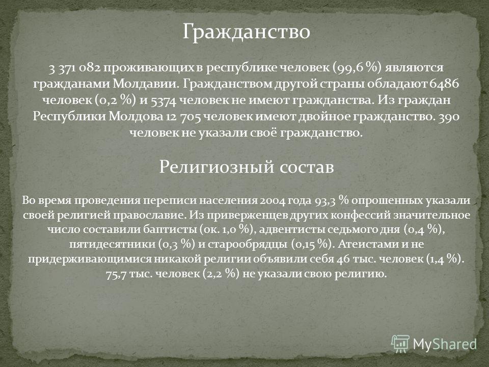 Гражданство 3 371 082 проживающих в республике человек (99,6 %) являются гражданами Молдавии. Гражданством другой страны обладают 6486 человек (0,2 %) и 5374 человек не имеют гражданства. Из граждан Республики Молдова 12 705 человек имеют двойное гра