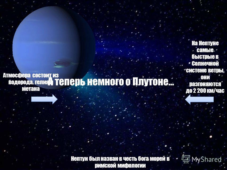 Атмосфера состоит из водорода, гелия и метана На Нептуне самые быстрые в Солнечной системе ветры, они разгоняются до 2 200 км/час Нептун был назван в честь бога морей в римской мифологии А теперь немного о Плутоне…