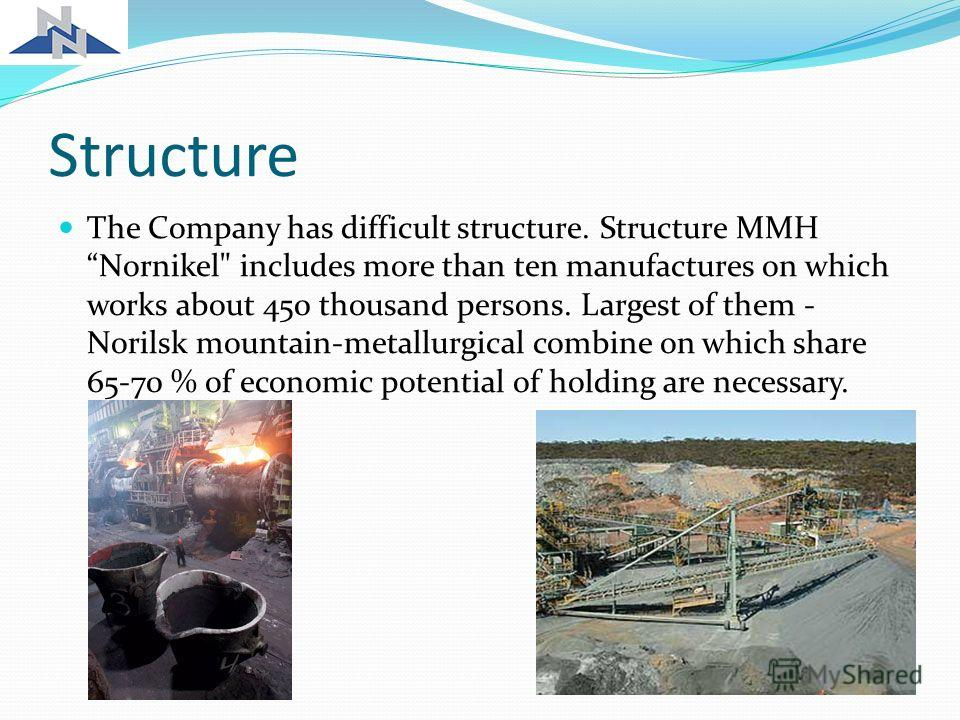 Structure The Company has difficult structure. Structure MMH Nornikel