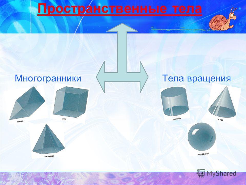 МногогранникиТела вращения Пространственные тела